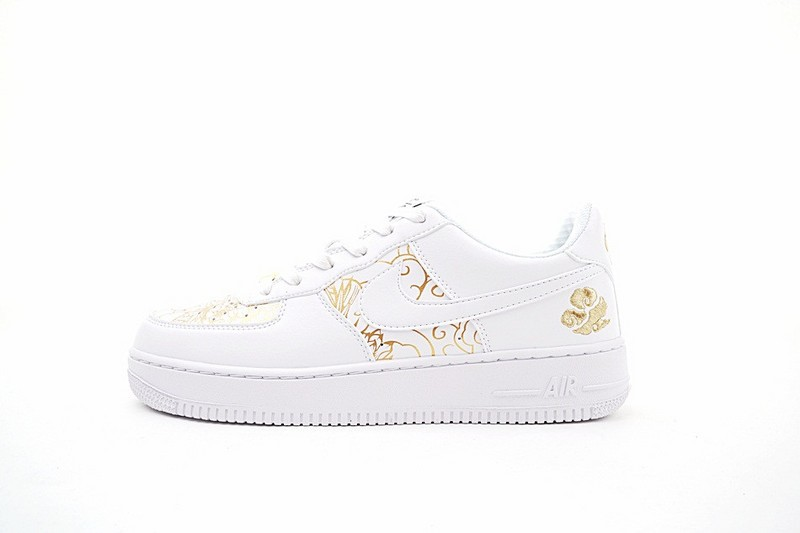 Plus Connu Blanche Or Unisex Chaussures Nike Air Force 1 Low ...
